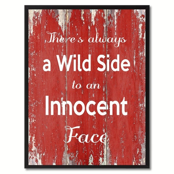 4b2fd2ecc7e2b Shop There s Always A Wild Side To An Innocent Face Inspirational Saying  Canvas Print Picture Frame Home Decor Wall Art Gift Ideas - Free Shipping  On Orders ...