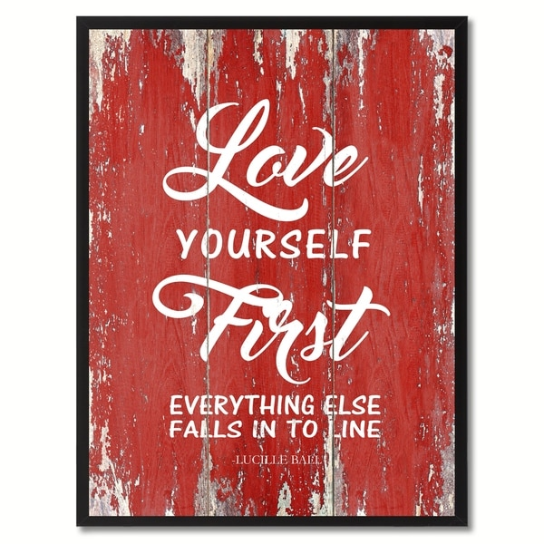 301057a617f4d Love Yourself First Everything Else Inspirational Saying Canvas Print  Picture Frame Home Decor Wall Art Gift