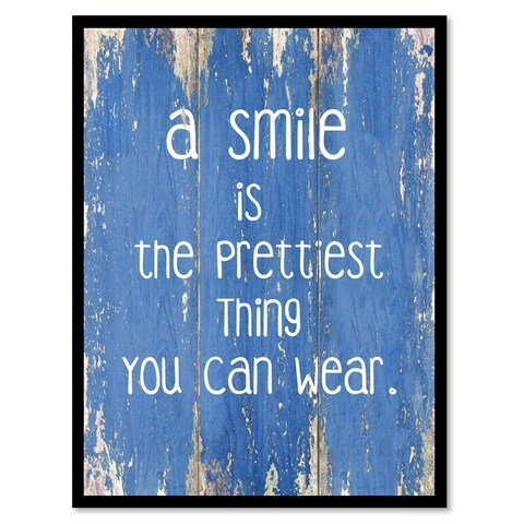 A Smile Is The Prettiest Thing You Can Wear Inspirational Quote Saying Canvas Print Picture Frame Home Decor Wall Art