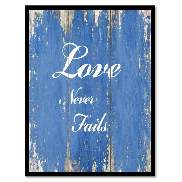 Love Never Fails Quote Saying Canvas Print Picture Frame Home Decor Wall Art