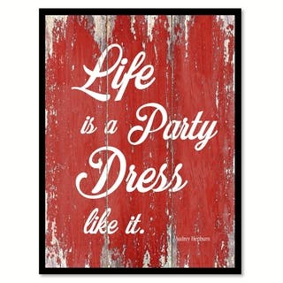 Life Is A Party Dress Like It Adrey Hepburn Inspirational Quote Saying Canvas Print Picture Frame Home Decor Wall Art