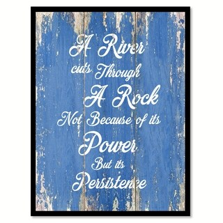A River Cuts Through A Rock Inspirational Quote Saying Canvas Print Picture Frame Home Decor Wall Art