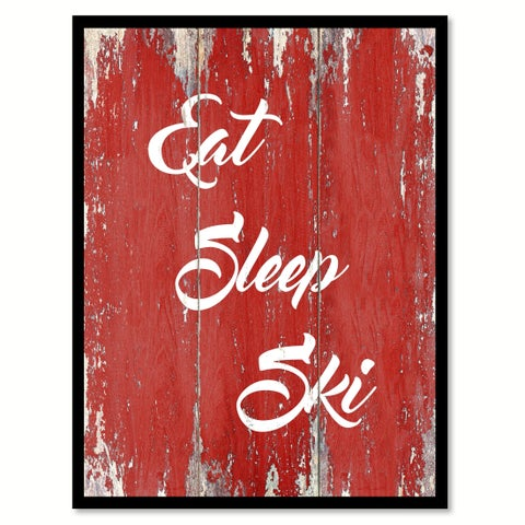 Eat Sleep Ski Canvas Print Picture Frame Home Decor Wall Art