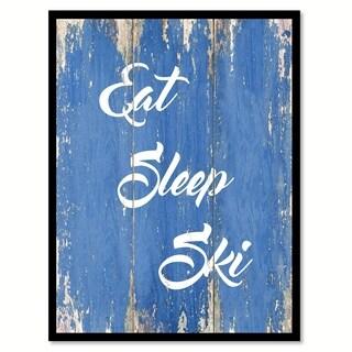 Eat Sleep Ski Saying Canvas Print Picture Frame Home Decor Wall Art