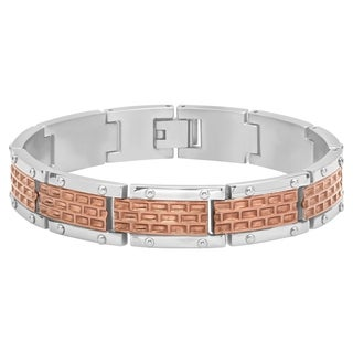 "Men's Stainless Steel Brown Brick Design Link Bracelet, 8.5"""