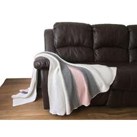Reva Collection - Throw Blanket - White/Pink/Grey
