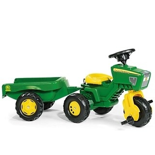 John Deere 3 Wheel Trac w/ Trailer - Green/Yellow