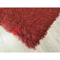 3-Inch Thickness Hand Tufted 2Tone Red Shiny Shag Rug - 5' x 7'