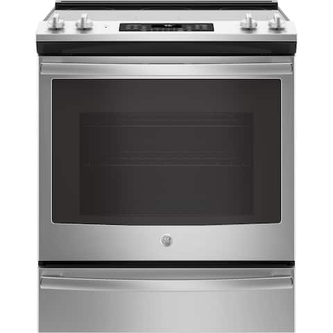 """GE 30"""" Slide-In Electric Convection Range - Stainless Steel"""