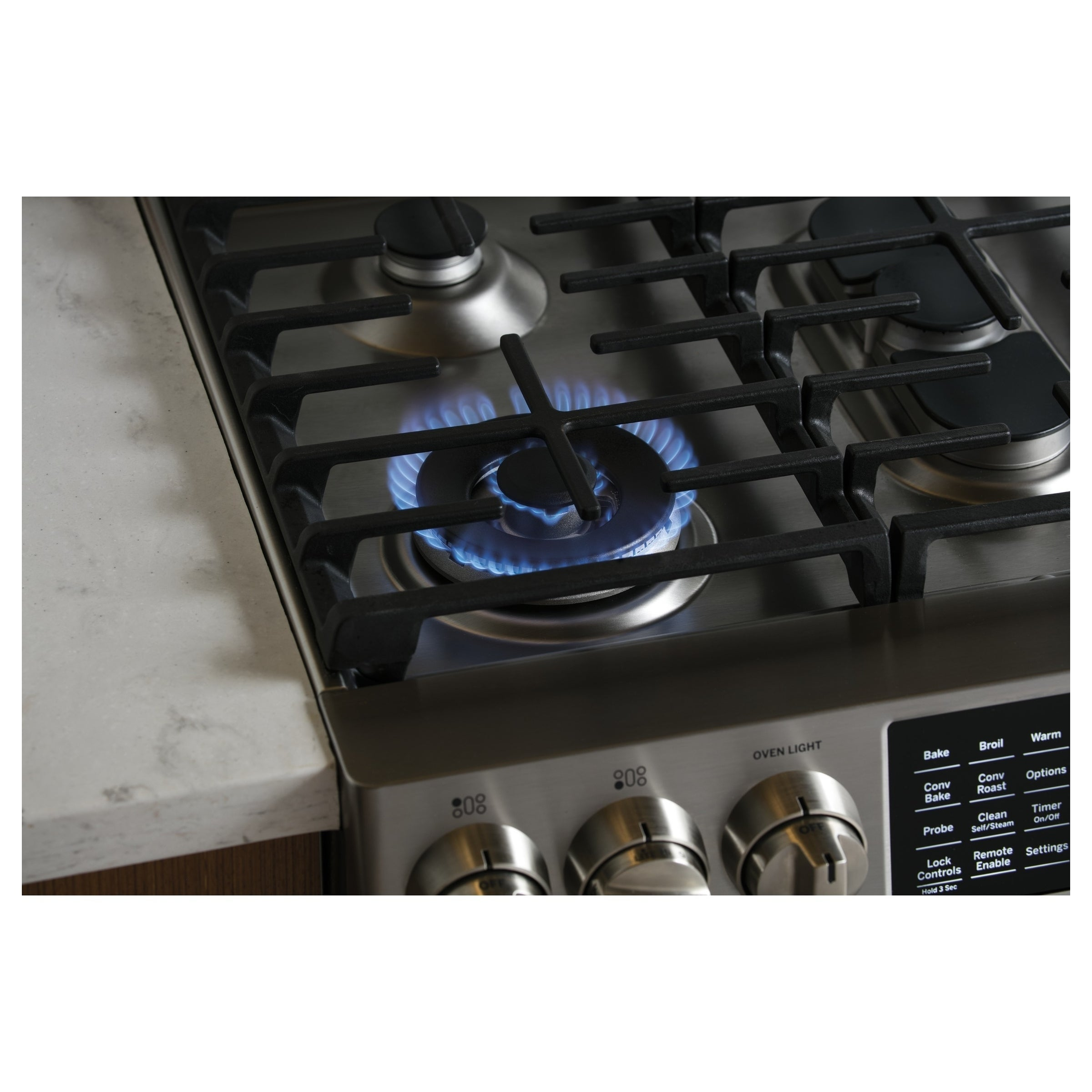 "GE Profile Series 30"" Slide-In Front Control Gas Range (G..."