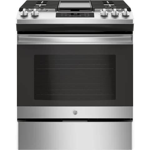 """GE 30"""" Slide-In Front Control Gas Range - Stainless Steel"""