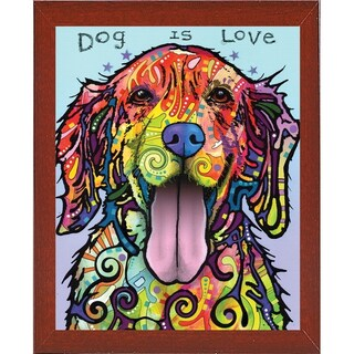 """Dog Is Love Framed Print 20""""x16"""" by Dean Russo (Option: Mahogany - affordable red mahogany medium - Wood)"""