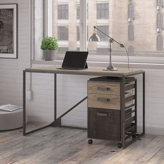 Refinery 50W Industrial Desk with 3 Drawer Mobile File Cabinet in Rustic Gray (Option: Grey Finish)