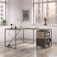 Refinery 50W L Shaped Industrial Desk with 37W Return and Mobile File Cabinet in Rustic Gray
