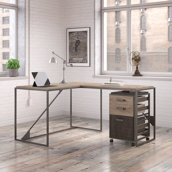 shop refinery 50w l shaped industrial desk with 37w return and mobile file cabinet in rustic. Black Bedroom Furniture Sets. Home Design Ideas