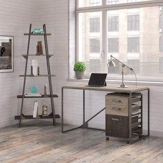 Refinery 50W Industrial Desk with A Frame Bookshelf and Mobile File Cabinet in Rustic Gray