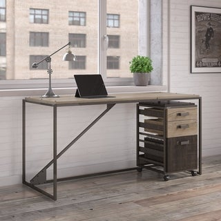 Refinery 62W Industrial Desk with 3 Drawer Mobile File Cabinet in Rustic Gray