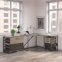 Refinery 50W L Shaped Industrial Desk with 37W Return and File Cabinets in Rustic Gray