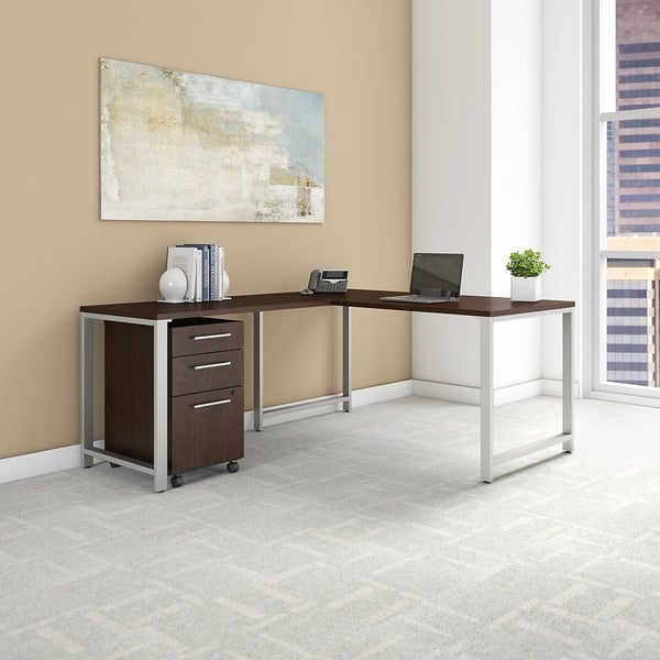 400 Series 60W L Shaped Desk with 42W Return and Mobile File Cabinet