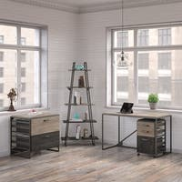 Refinery 50W Industrial Desk with A Frame Bookshelf and File Cabinets in Rustic Gray