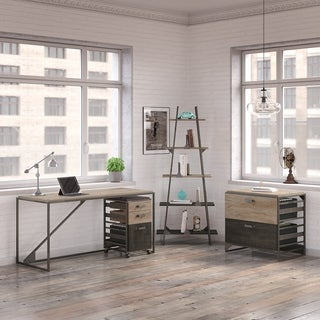 Refinery 62W Industrial Desk with A Frame Bookshelf and File Cabinets in Rustic Gray (Option: Grey Finish)