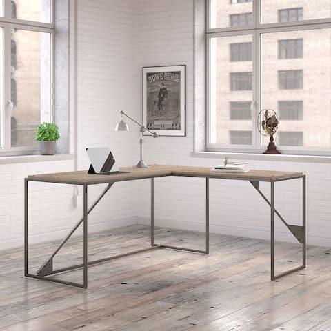 Carbon Loft Plimpton Industrial Desk with 37-inch Return in Rustic Grey