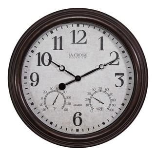 La Crosse Clock 404-3015 15 Inch Indoor/Outdoor Wall Clock with Temperature and Humidity