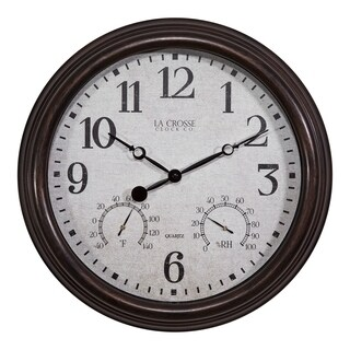La Crosse Clock 404-3015 15 Inch Indoor/Outdoor Wall Clock with Temperature and Humidity