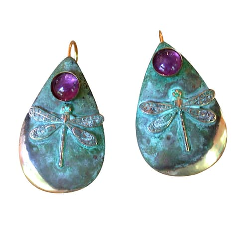 Handmade Patina Dragonfly Teardrop Earrings - Amethyst (USA)
