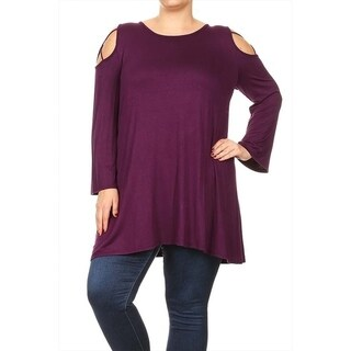 Women's Plus Size Solid Cutout Crossed Strap Tunic