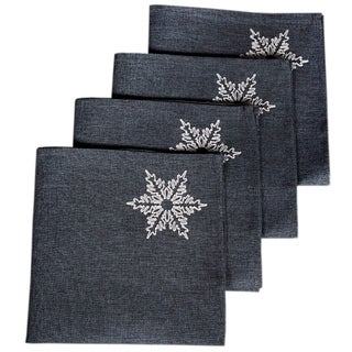 Glisten Snowflake Embroidered Christmas Napkins, 20 by 20-Inch, Set of 4, Grey