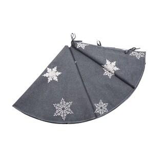 Glisten Snowflake Embroidered Christmas Tree Skirt, 56-Inch Round, Grey