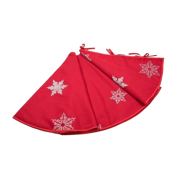 Glisten Snowflake Embroidered Christmas Tree Skirt 56 Inch Round Red