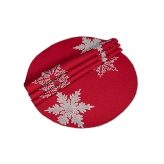 Glisten Snowflake Embroidered Christmas Round Placemats, 16-Inch Round, Set of 4, Red