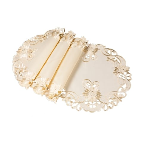 Delicate Daisy Embroidered Cutwork Round Placemats, 15-Inch Round, Set of 4, Beige