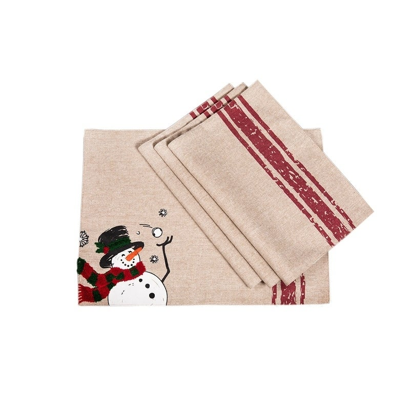 Frosty Christmas Placemats, 13 by 18-Inch, Set of 4, Mult...