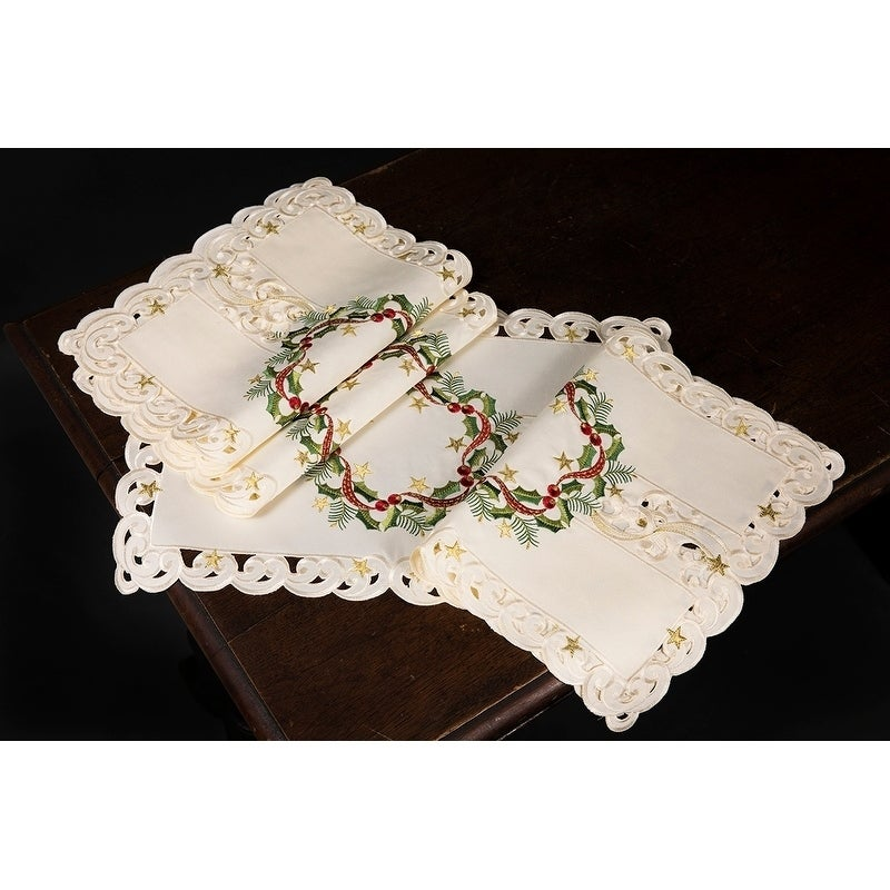 Ribbon Wreath Embroidered Cutwork Christmas Placemats 13 By 19 Inch Set Of 4 Overstock 17994907