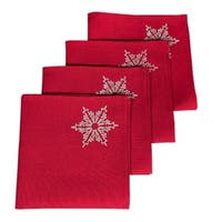 Glisten Snowflake Embroidered Christmas Napkins, 20 by 20-Inch, Set of 4, Red