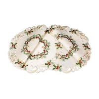 Ribbon Wreath Embroidered Cutwork Christmas Round Placemats, 15-Inch, Set of 4