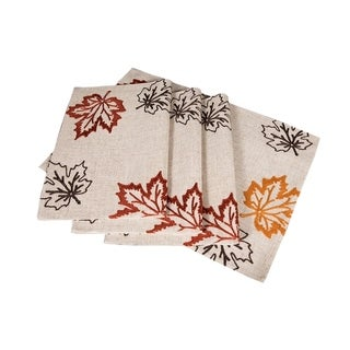 Rustic Autumn Embroidered Fall Placemats, 14 by 20-Inch, Set of 4, Natural