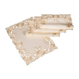 Delicate Daisy Embroidered Cutwork Placemats, 13 by 19-Inch, Set of 4, Beige