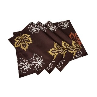 Rustic Autumn Embroidered Fall Placemats, 14 by 20-Inch, Set of 4, Coffee