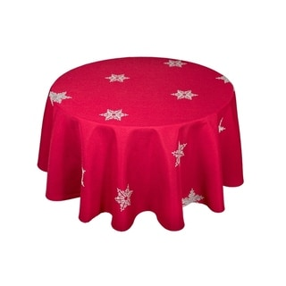 Glisten Snowflake Embroidered Christmas Round Tablecloth, 70-Inch, Red