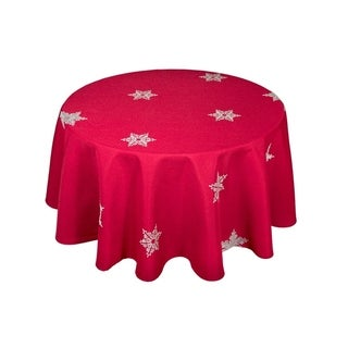 Glisten Snowflake Embroidered Christmas Round Tablecloth, 70 Inch, Red