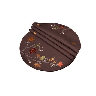 Autumn Branches Embroidered Fall Round Placemats, 16-Inch, Set of 4