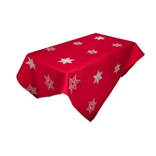 Glisten Snowflake Embroidered Christmas Square Tablecloth, 60 by 60-Inch, Red