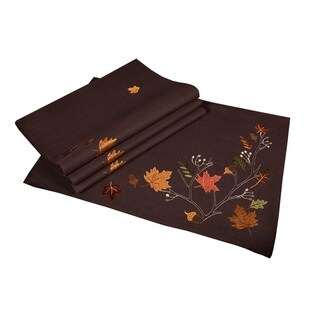 Autumn Branches Embroidered Fall Placemats, 14 by 20-Inch, Set of 4