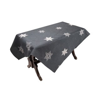 Glisten Snowflake Embroidered Christmas Tablecloth, 60 by 84-Inch, Grey