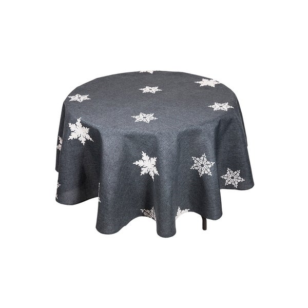 Glisten Snowflake Embroidered Christmas Round Tablecloth, 70 Inch, Grey