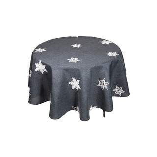 Glisten Snowflake Embroidered Christmas Round Tablecloth, 70-Inch, Grey
